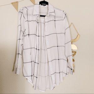 White Grid Button Up Shirt